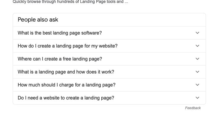landing page questions